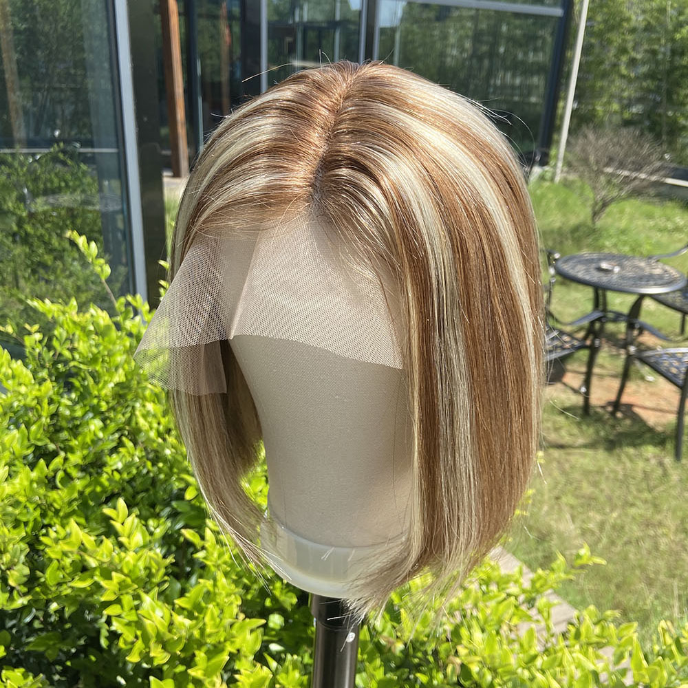 Highlight Short Bob Balayage U Part Blonde Honey Brown Cheap Ombre Lace Front Human Hair Wig For Women Remy Virgin Hair Loviness
