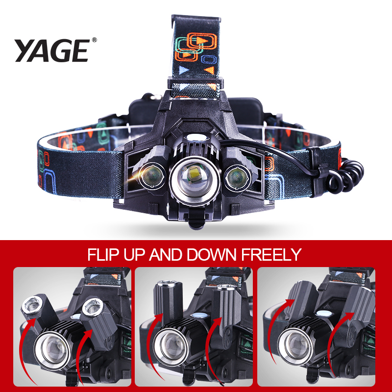 360 Rotate 3 Lamps Telescopic Zoomable Head Lamp USB 18650 Rechargeable Head Light Cree T6 LED Headlamp 4 Modes Bicycle Frontale