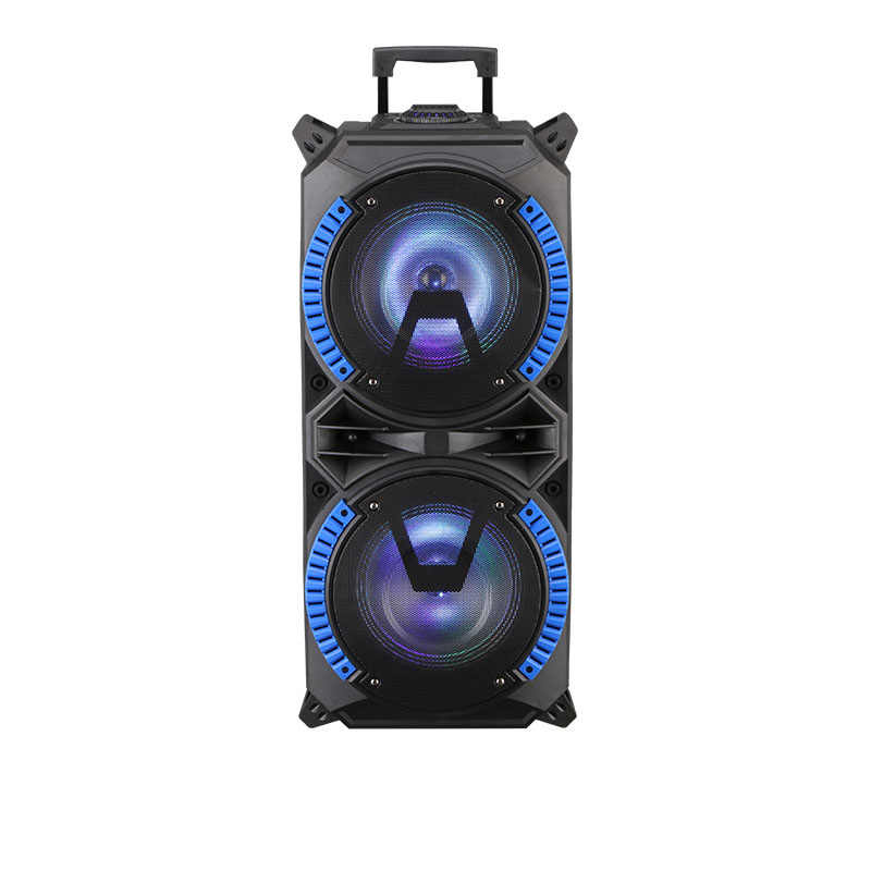 Dual 8-Inch Nirkabel Portabel Trolley Speaker dengan USB Daya Tinggi Bluetooth Kompatibel Indoor dan Outdoor DJ Stereo speaker