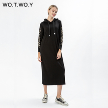 WOTWOY Autumn Streetwear Print Hooded Women Dress 2019 Long Sleeve Mid-calf Straight Female Hoodie Dresses Clothes