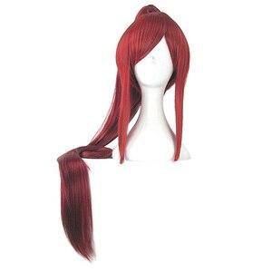 Image 5 - Hairjoy vermelho loira marrom roxo preto cosplay peruca rabo de cavalo longa reta resistente ao calor perucas de traje de cabelo sintético 4 cores