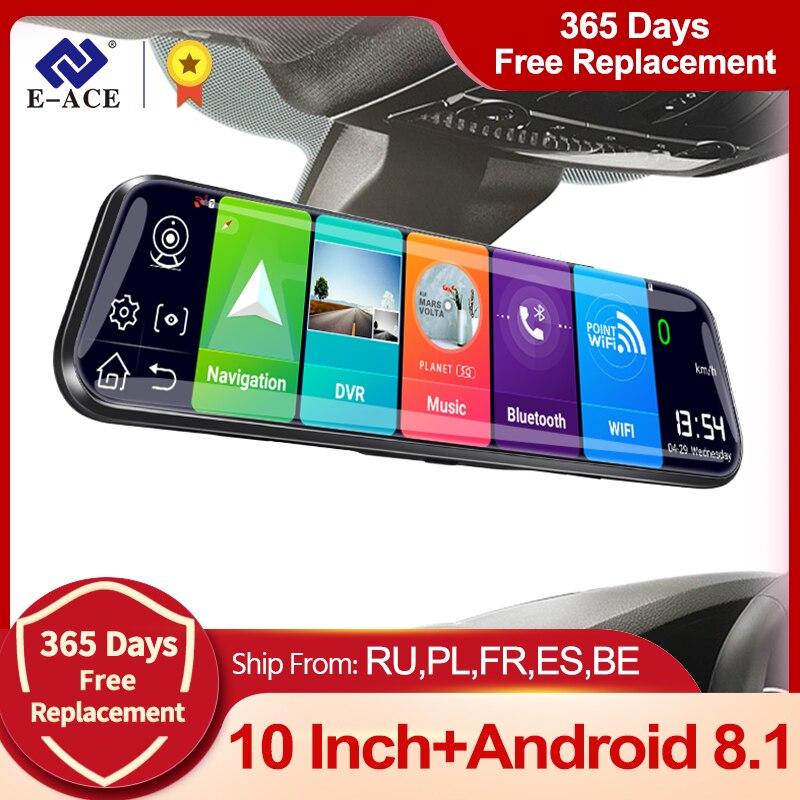 E-ACE D13 4G Автомобильный видеорегистратор 10 дюймов зеркальный видеорегистратор Android 8,1 GPS навигационная Автомобильная камера Автомобильный ви...