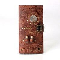 OMIKRON Women Steampunk Retro Leather Wallet Female Leisure Purse Best Quality Long Coin Purse Card Wallets Carteira Feminina