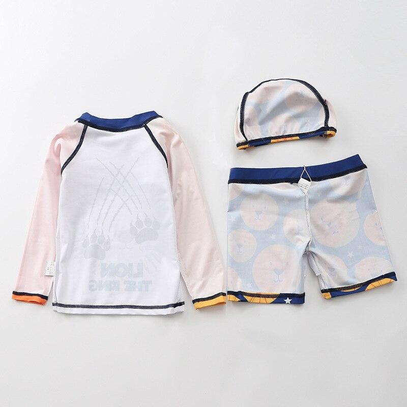 KID'S Swimwear Male Baby Split Type Swimwear Boy Children Orange Lion Hooded Short Sleeve Infant BOY'S Swimming