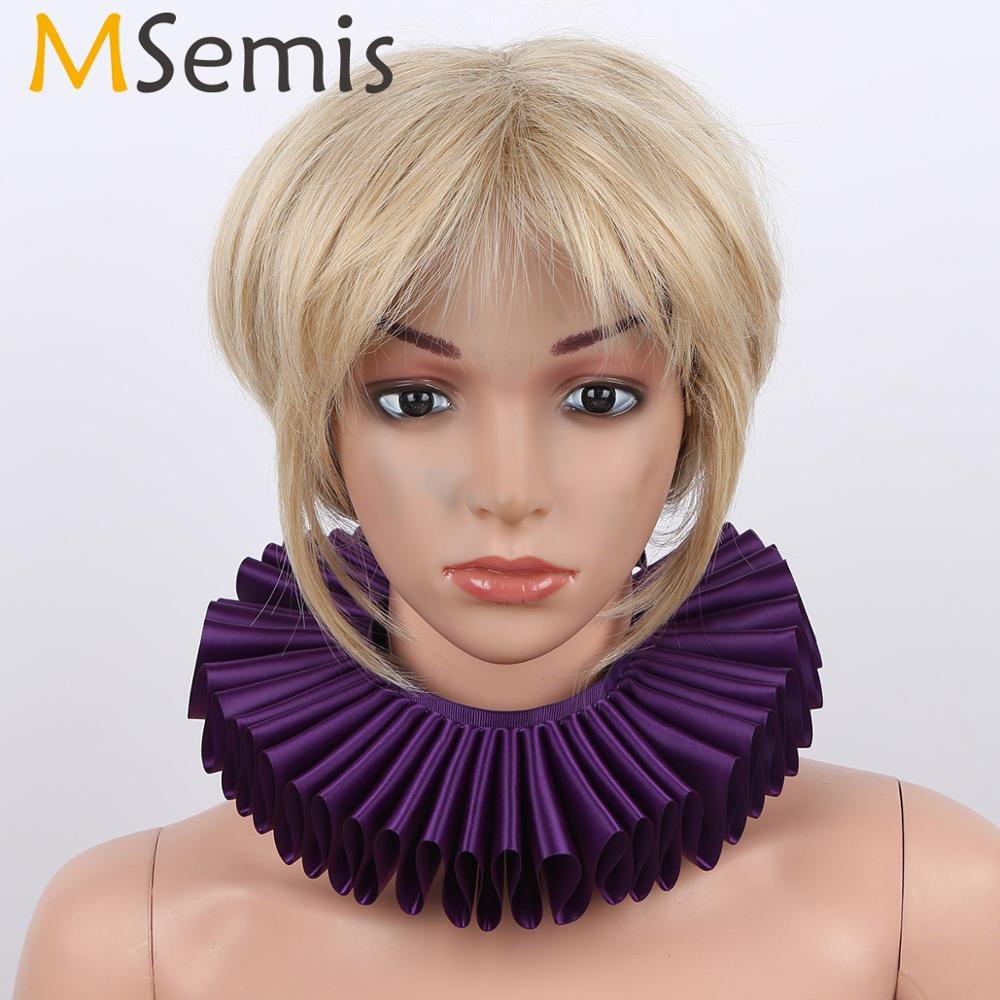 MSemis Renaissance Elizabethan Vintage Costume Neck Piece Ruffled Clown Collar Women Detachable Collar Stays Fake Collars Choker