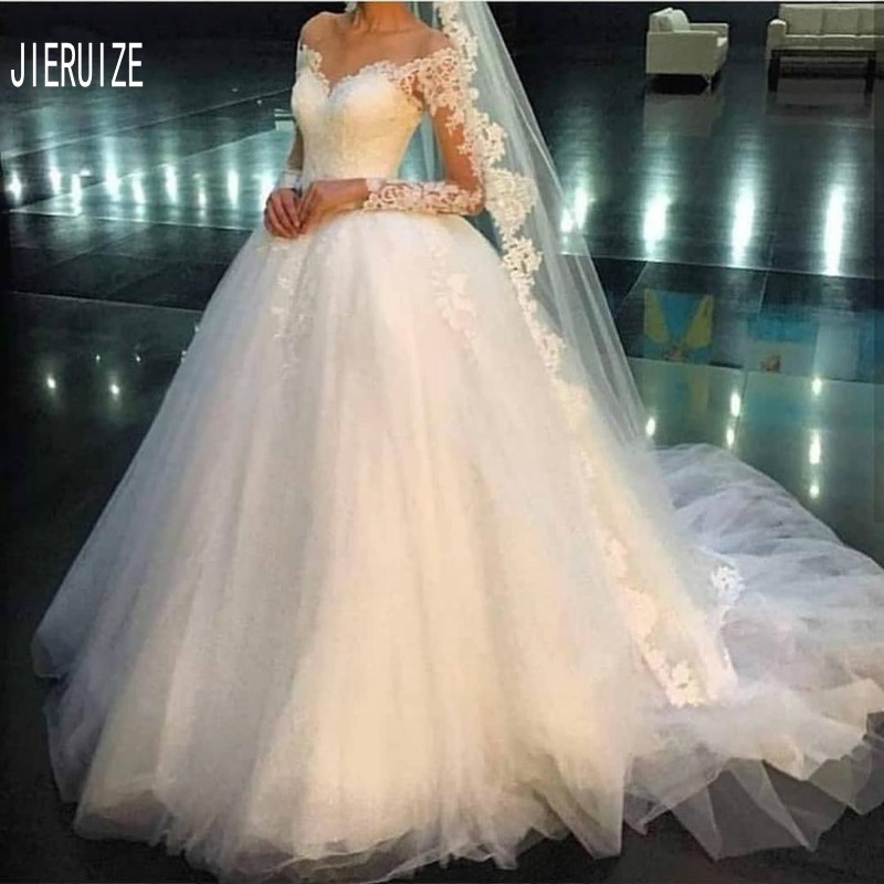 JIERUIZE Ivory Sweetheart Wedding Gowns Long Sleeve Lace Appliques Ball Gown Wedding Dresses Lace Up Back Vestidos De Noiva