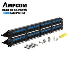 AMPCOM Supreme Series CAT5/5e Patch Panel, 50U Gold Plated, 2U 48-Port Rackmount or Wallmount Punch Down Panel