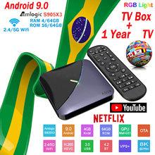 Brazylia IPTV A95X F3 TV, pudełko inteligentne HD 4 + 64G Android9.0 film odbiornik TV WIFI europa TV Netflix top odtwarzacz multimedialny + 1 rok m3u TV, pudełko(China)