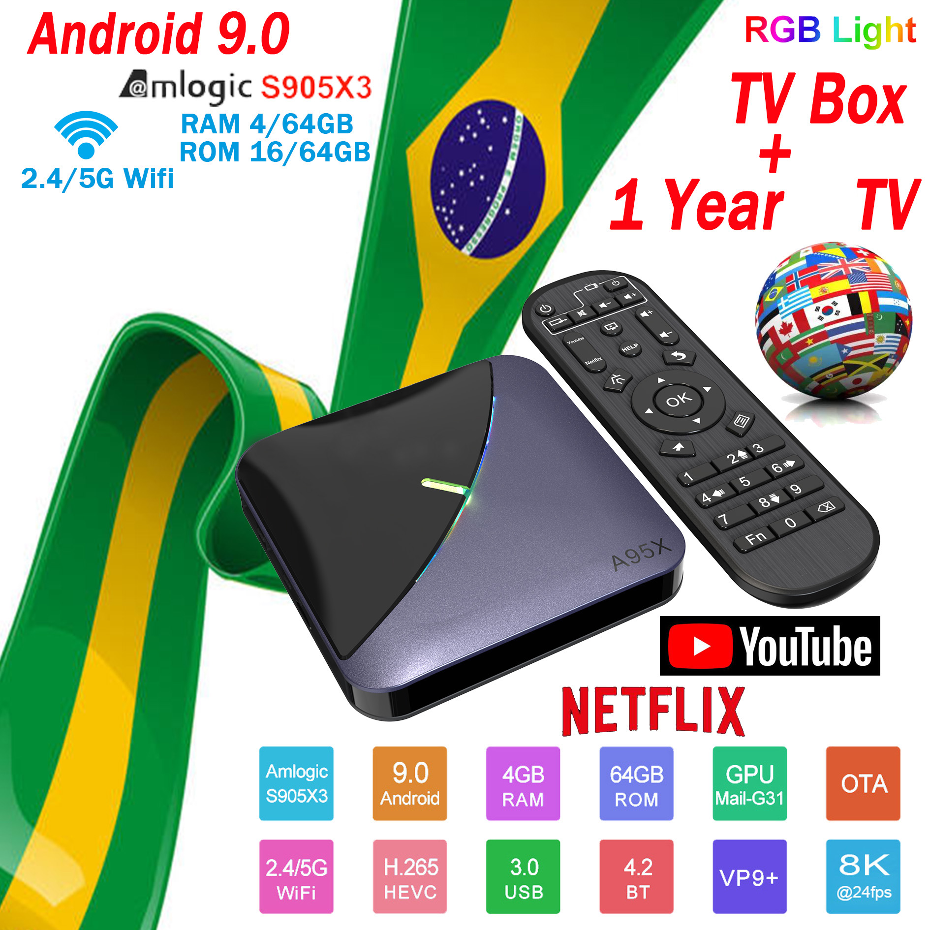 Brazil IPTV A95X F3 TV BOX Smart HD 4+64G Android9.0 Movie TV Receiver WIFI Europe TV Netflix top Media Player+1 Year m3u TV Box image