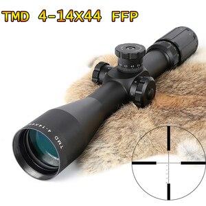 Mira telescópica TMD 4-14X44 FFP para caza, primer avión Focal, cristal, Mil puntos, retícula, óptica táctica, mira de Rifle Parallax lateral