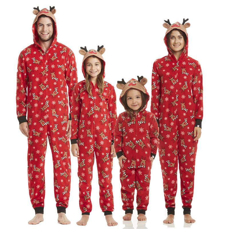 2019 Hooded Family Christmas Pajamas Set Dad Mom Kids Baby Family Look Onesies Matching Xmas Clothes Sleepwear