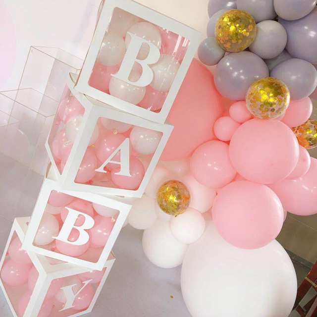 4 adet/takım 2019 Şeffaf Kutu Lateks Balon BEBEK AŞK Blokları Çocuk Kız Bebek Duş Düğün Doğum Günü Partisi Dekorasyon Zemin