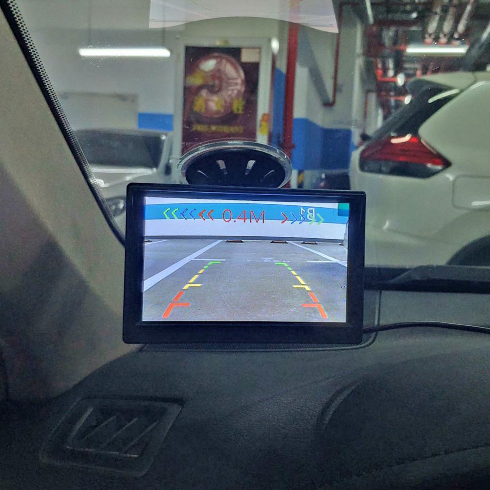 DIYKIT przewodowy 5 cal kolor monitor samochodowy tft lcd + wodoodporna czujnik parkowania czujnik samochodu kamera tylna kamera system parkowania zestaw