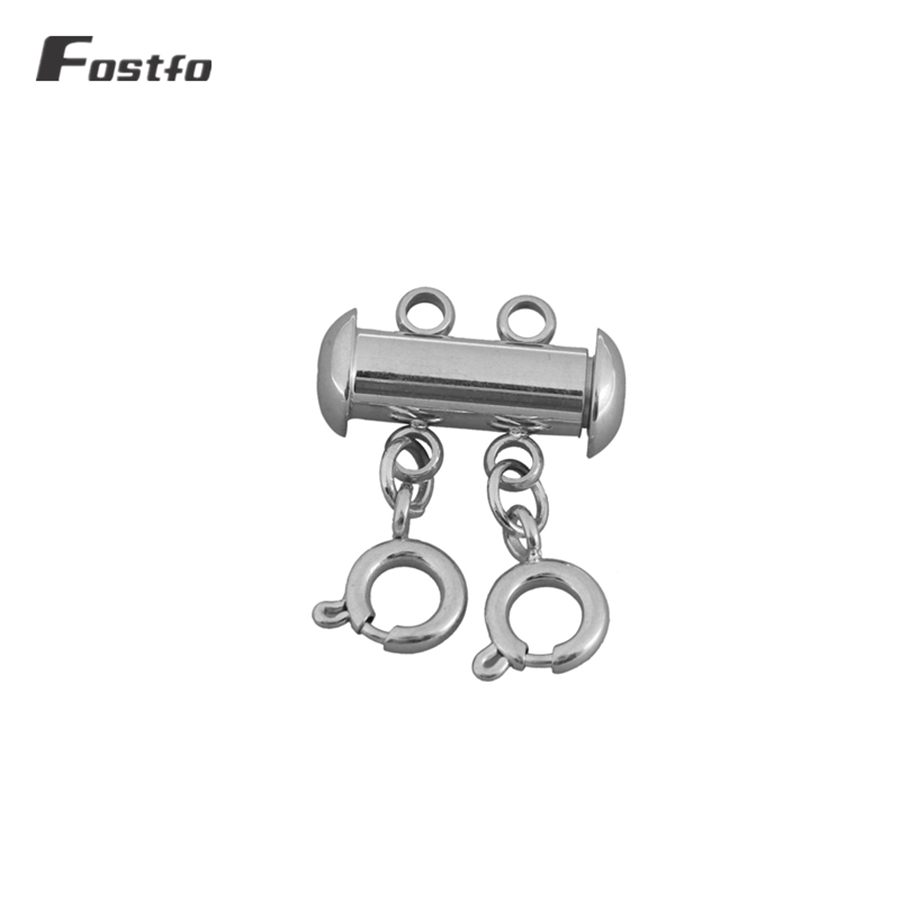 Fostfo Slide Tube Lock Spacer Clasp Multi Strands Magnetic Tube Lock Layered Necklaces Bracelet Connectors For Jewelry Supply