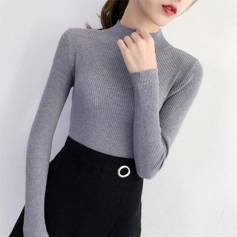 Женский облегающий свитер Pateekate, свитер с высоким воротником и нитью, Осень зима 2019|Водолазки|   | АлиЭкспресс