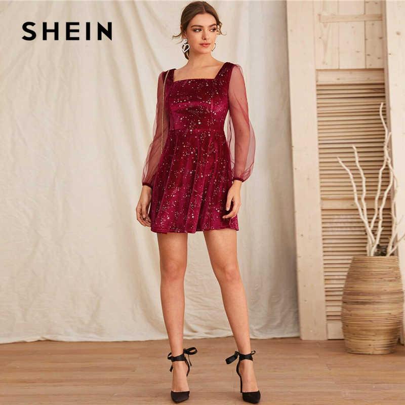 SHEIN Galaxy baskı kontrast tam örgü kollu noel kadife elbise kadınlar İlkbahar kare boyun bir çizgi parti kısa alevlendi elbiseler