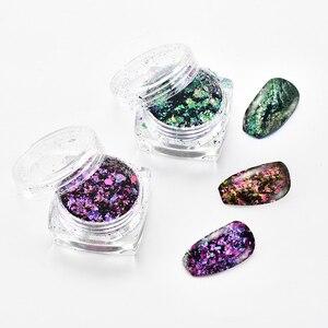 8g/box 6 colors Chameleon Flakes Nail Powder Flakes Nail Bling Mirror Shimmer Powder Nail Art Glitter Dust Galaxy Decorations