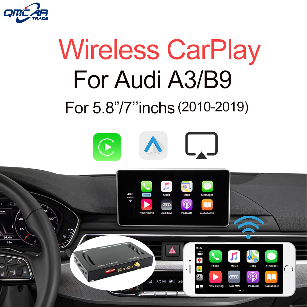 QMCAR Wireless Apple CarPlay for Audi A3/Q2/B3 2010-2018 Android Auto /Carplay Support Mirrorlink /HDMI Display image