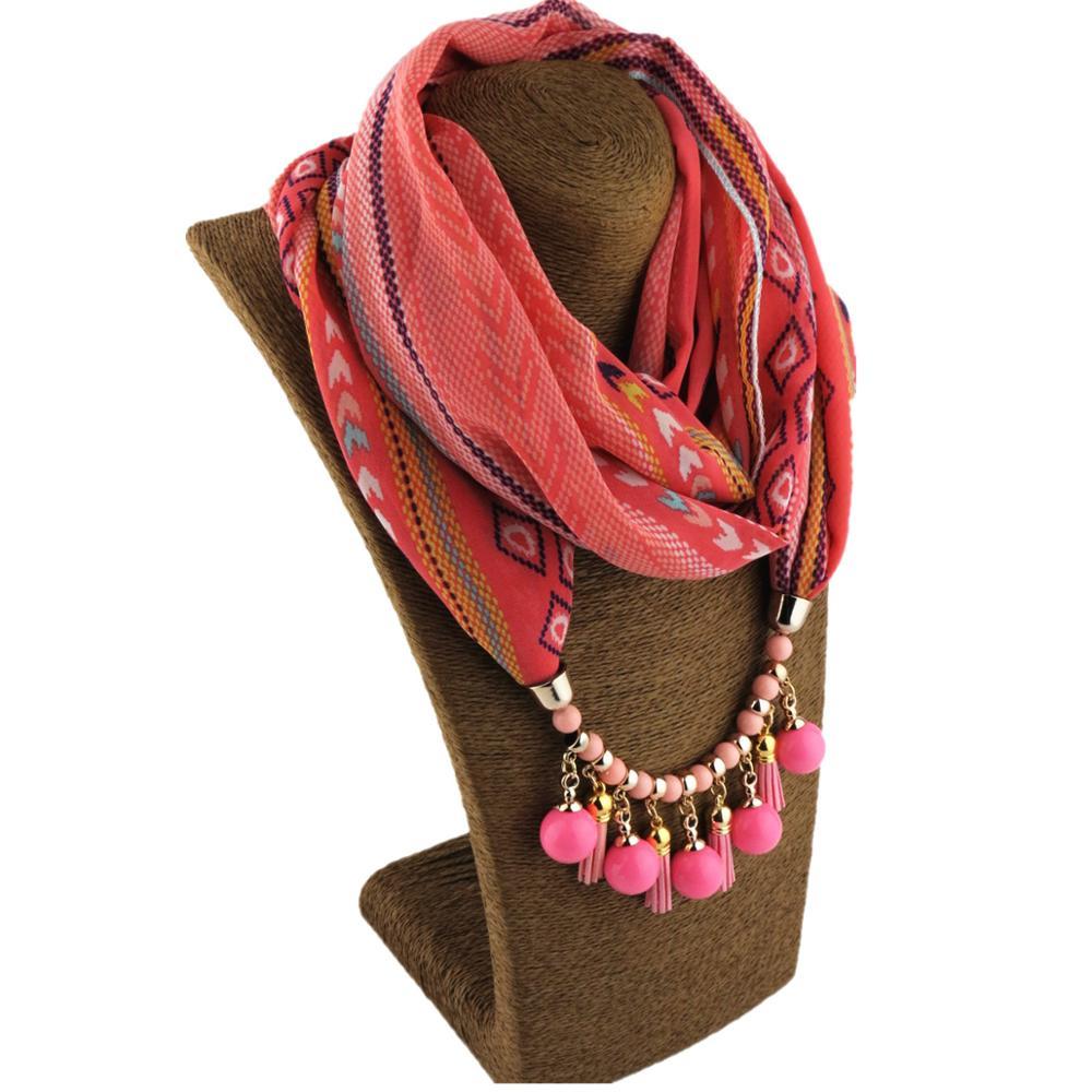2019 Boho Bead Pendant Necklace Jewelry Scarf Woman Chiffon Print Flower Shawl Muslim Hijab Scarf Foulard Femme Neck Scarves