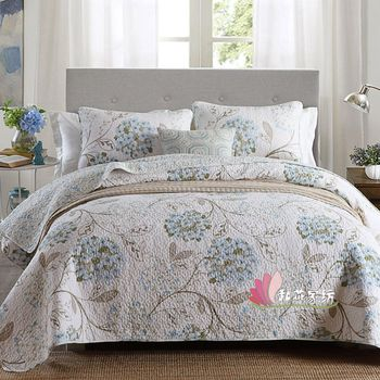 100% Cotton Quilt Set 3pcs Washed Cotton Quilts Quilted Bedspread Bed Cover Sheets Bird Printed Coverlet Set King Size QT007 marine style bedspread quilt set 3pcs coverlet quilted bedding cotton quilts aircondition bed cover pillowcase king size blanket