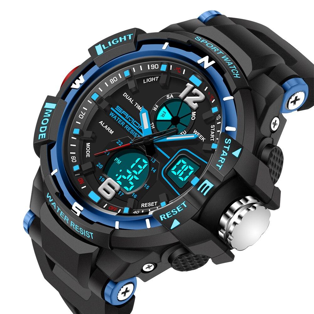 Fashion Watch SANDA Brand Children Sports Watches Boy Girl Student Multifunctional Wristwatch LED Digital Military Quartz Watch