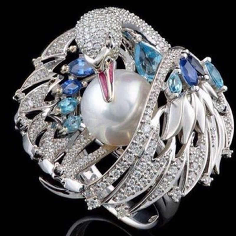 Di modo D'argento Dello Smalto Grande Fiore Anelli di Cerimonia Nuziale per Le Donne Unico Swan Cubic Zirconia Anello di Fidanzamento Del Partito Femminile Boho Monili di