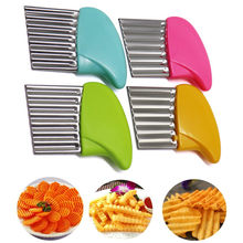 Stainless Steel Wave Slicer Potato Slices Wrinkled French Fries Salad Corrugated Cutting Chopped Slices Knife Kitchen Tools
