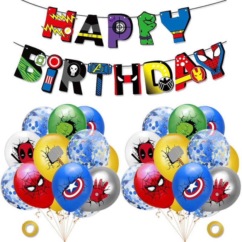 С Днем Рождения супер герой латексный воздушный шар набор баннеров из алюминиевой пленки воздушные шары для детей вечерние украшения для д...
