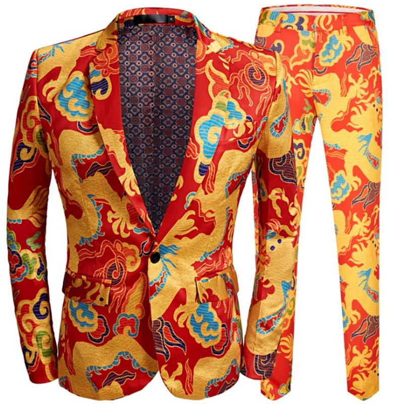 2020 New Chinese Men's Red Dragon Printed Suit Set Singer Stage Performance Suit Slim Wedding Tuxedo Costume