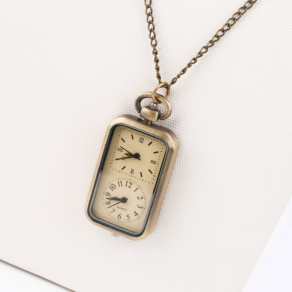 2018 Fashion Antique Bronze Dual-clock Creative Pocket Quartz Fob Pocket Watch With Sweater Necklace Chain