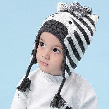 Jungen Warme Hüte Winter Kappe Cartoon Zebra Caps Kinder Baumwolle Gestrickte Kappen Ohr Klappen Beanies kinder Mädchen Nette Tier hut Kappe 0-6