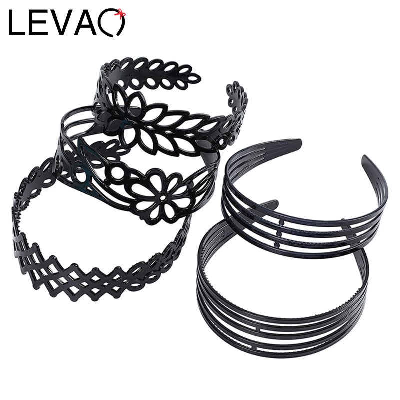 LEVAO Hollow Hair Bands Plastic Black Color Headband Bezel Wide Size Turban Women Hairbands Girls Accessories Headwear Hair Hoop