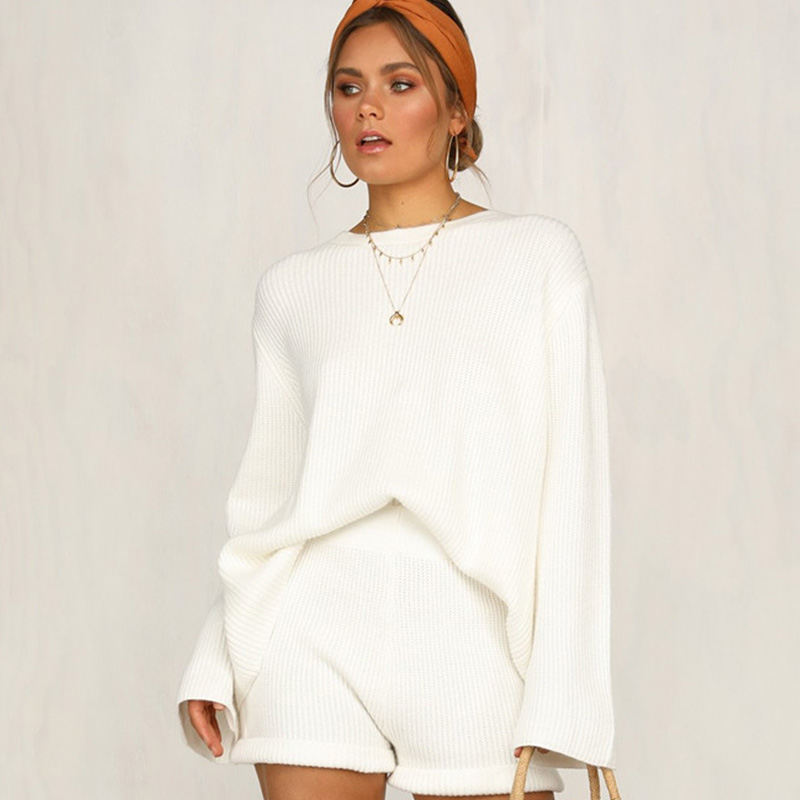 QUEVOON Two Pieces Set Strap Detail Shift Back Tops And Short Pant Solid Women Sweater Suits O-Neck Knitted Pullover For Female