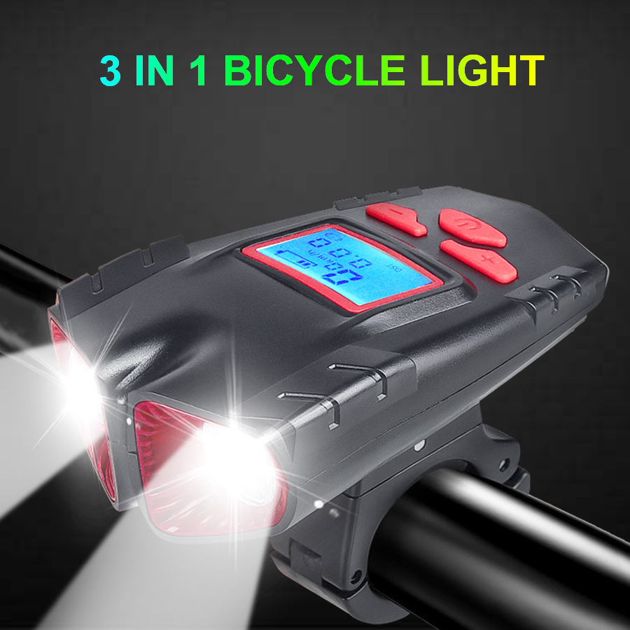 Bike Light USB charge waterproof <font><b>Bicycle</b></font> Computer Horn light 3 in 1 Wireless Bike Speedometer <font><b>Flashlight</b></font> <font><b>for</b></font> <font><b>Bicycle</b></font> headlight image