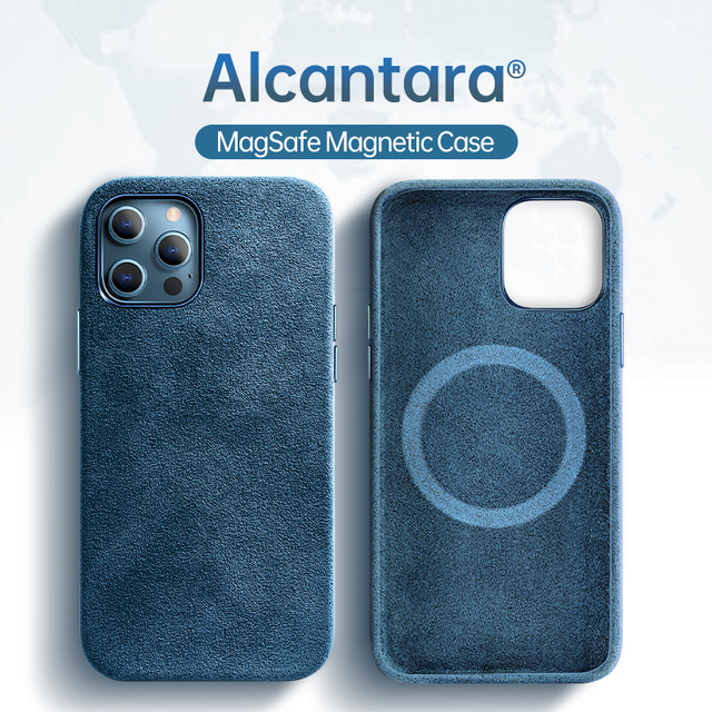 SanCore Alcantara Turn fur Case For iPhone 12 12Pro 12ProMax 12Mini Case Support For Magsafe wireless charger Magnetic cover 1