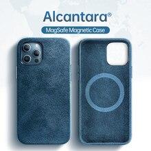 SanCore Алькантара поворотный Меховой чехол для iPhone 12 12Pro 12ProMax 12Mini Чехол Поддержка Magsafe Беспроводное зарядное устройство Магнитный чехол