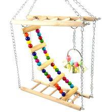 Птица хомяк мост деревянные качели игрушки маленький питомец лестница стойка клетка на платформе аксессуары N1HA