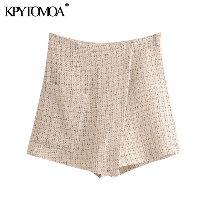 KPYTOMOA Women 2020 Chic Fashion Office Wear Tweed Shorts Skirts Vintage Back Zipper Pockets Female Short Pants Pantalones Mujer