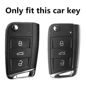 Image 2 - Car Key Case Cover For Volkswagen VW Polo Golf 7 MK7 Tiguan passat For Skoda Octavia  Kodiaq Karoq For Seat Ateca Leon Key Bag