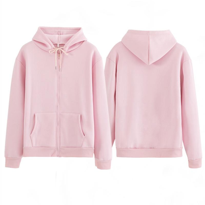 Women Sweatshirt Casual Solid Colors Oversized Full Zip-Up Hoodies Jacket 2020 Winter Velvet Thickening Warm Tops Long Sleeve 3