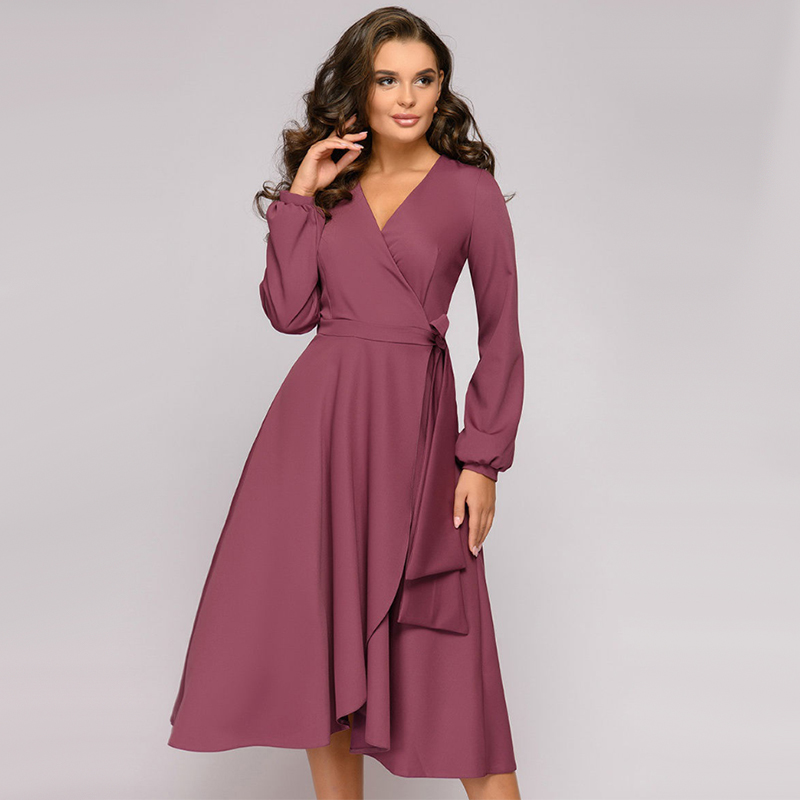 Women Vintage Sashes Lantern Sleeve A-line Party Dress Long Sleeve Sexy V Neck Solid Casual Dress 2019 Autumn New Fashion Dress