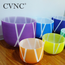 4Pcs Set of Note 8101214Color stripe Chakra Frosted Quartz Crystal Singing Bowl