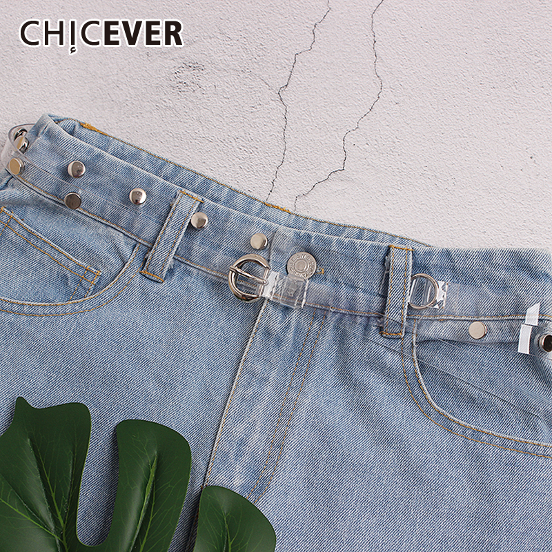 CHICEVER Vintage Denim Shorts Accessories Belt For Women High Waist Summer Perspective Korean Female Belted 2019 Fashion New