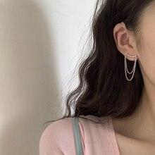 KISSLOVE-pendientes de doble cadena con borlas para niña y mujer, aretes de doble curvado diseño de capas con borlas, joyería