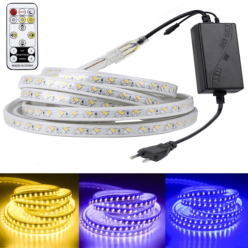 220V LED Strip 5050 High Brightness Flexible Tape 5730 LED Light Outdoor IP67 Waterproof RGB LED Strip Light Dimmable By Remote