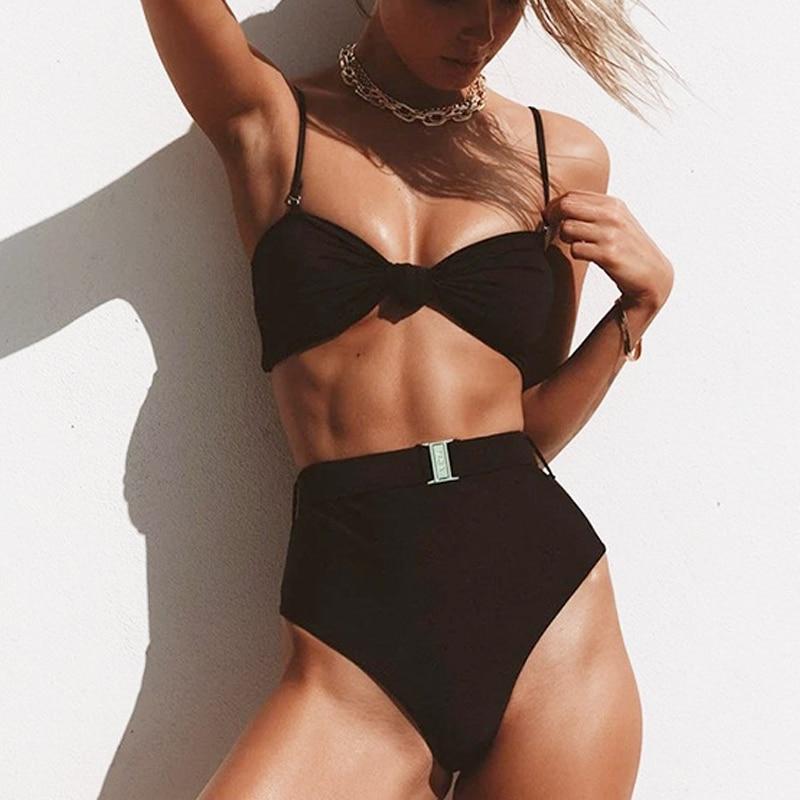 Sexy High Waist Bikini Micro 2020 High Cut Swimwear Women Biquini Buckle Belt Swimsuit Black Bathing Suit Beach Wear Swim Suit