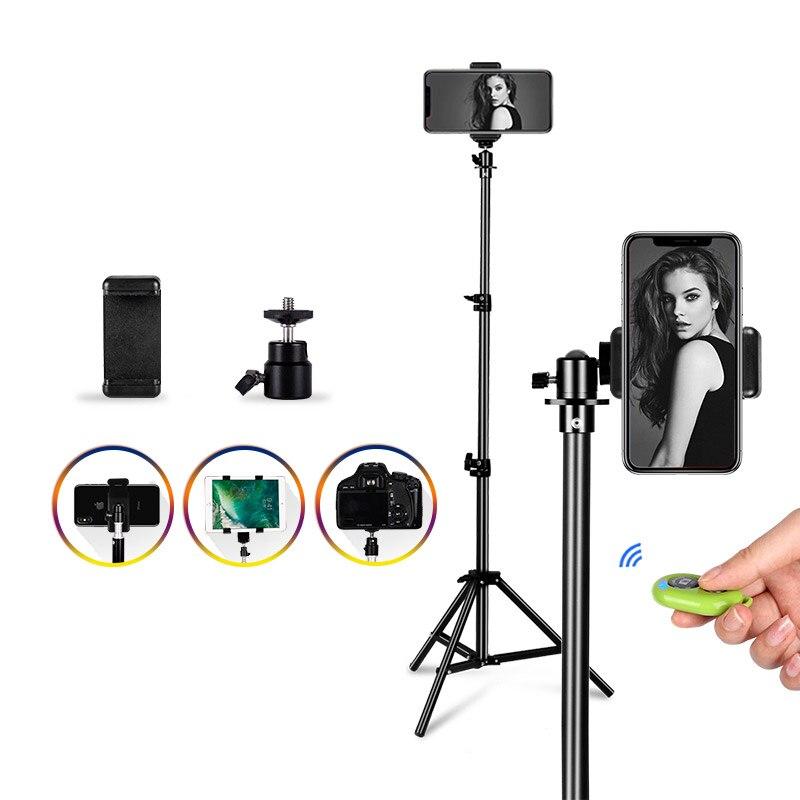 Trípode de aluminio portátil Universal trípode de montaje de cámara Digital trípode para teléfono con Bluetooth Control remoto Selfie flash foto