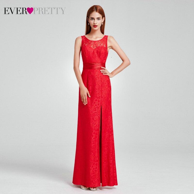 Сексуальные кружевные вечерние платья Ever Pretty А-силуэта с круглым вырезом и рукавом до локтя из тюля прозрачные элегантные длинные вечерние платья Robe De Soiree - Цвет: EP08949RD