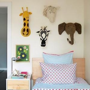 Слон Олень лошадь тигр 3D голова животного настенное крепление мягкие игрушки для спальни домашний декор войлочные работы настенные подвес...