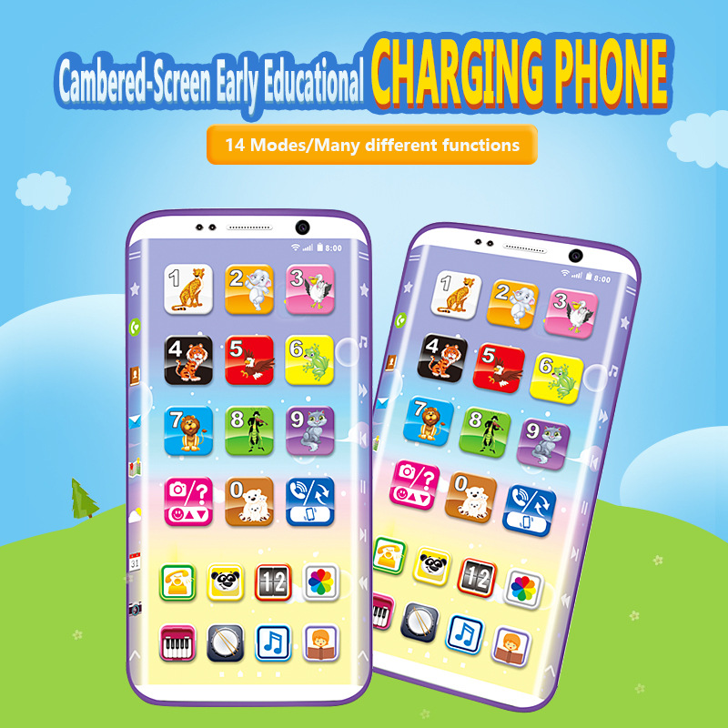 Educational Toys Cellphone Baby Kid Educational Phone English Learning Mobile Phone Toy Chrismtas Gifts Curved Panel